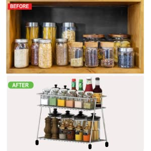 Spice Trolley Container  Organiser/ Multipurpose Kitchen Storage Shelf Shelves Holder Stand Rack
