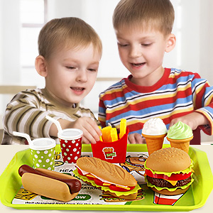 play food toy set toddler fast dessert hamburger