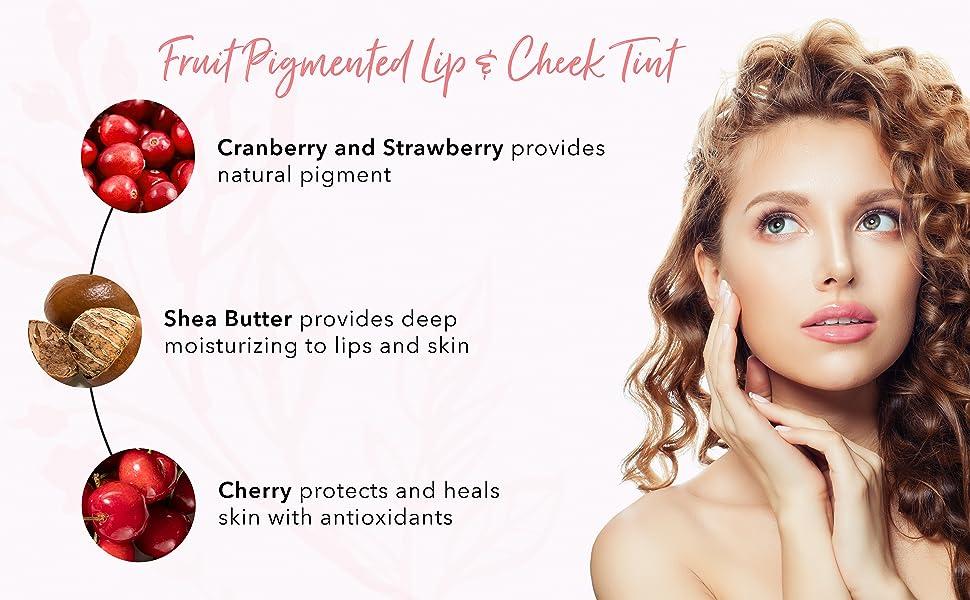 100 percent pure 100% natural vegan cruelty free fruit pigmented makeup lip cheek tint long lasting