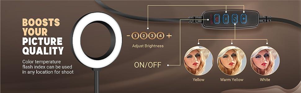 tiktok stand with light, makeup light, face light, small ring light, ring light, youtube light setup