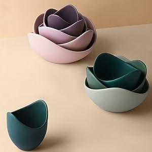 Stacked Colorful Lotus Bowl