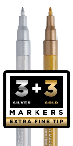 Set of 3 Gold amp; 3 Silver Acrylic Paint Markers Extra-Fine Tip