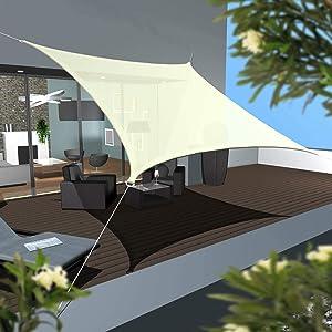 AMANKA Toldo UV - 6x4 HDPE Vela de Protección Solar Rectangular - Techo para Balcón Jardín Beige