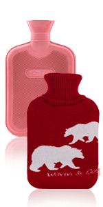 HomeTop Premium 2 Liter Classic Rubber Hot Water Bottle w/Elegant Polar Bear Knit Cover