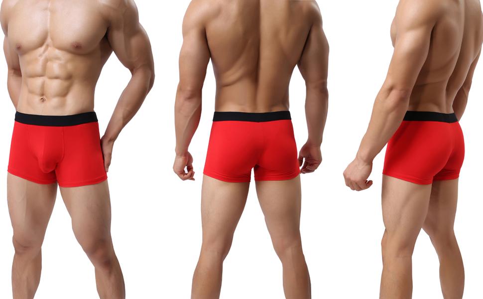 LSAMDIR Mens Red Cotton Underwear