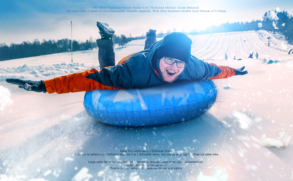 Big enough snow tube sled for kids and adults Great Christmas Gift