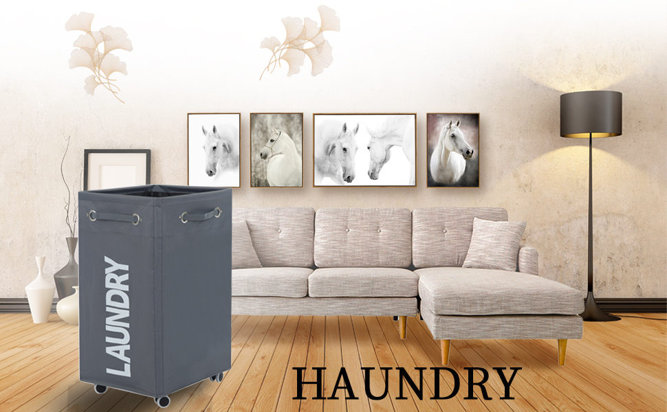 Laundry hamper with wheel