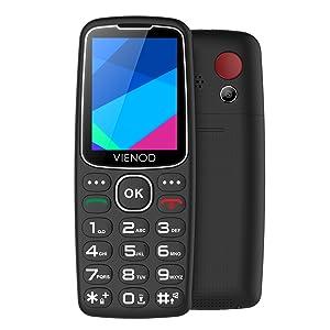 VIENOD V206 2G Teléfono Móvil para Mayores, Pantalla de 2,4 Pulgadas, Fácil de Usar Móviles con Teclas Grandes, Botón SOS, Cámara y Base Cargadora (Negro): Amazon.es: Electrónica