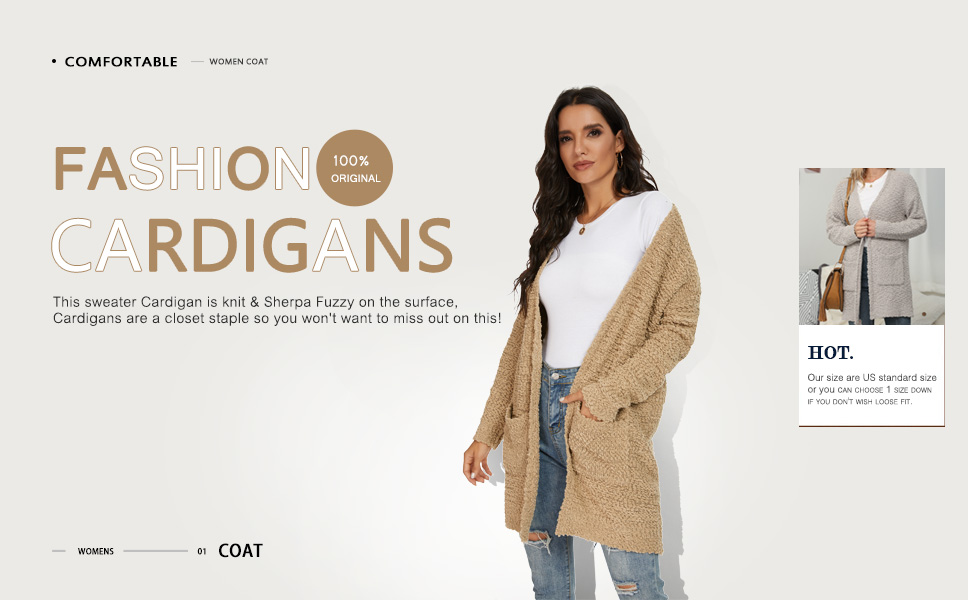 QIXING Women's Casual Open Front Cardigans Long Sleeve Chunky Knit Sweater Coat with Pockets