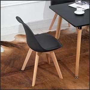 Cushion Chair Black Dining Table Set