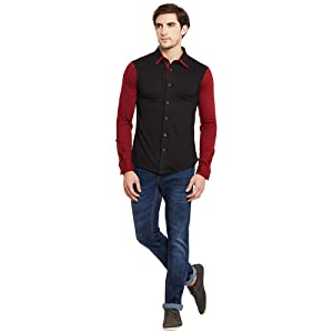 Black Maroon Collar Shirt