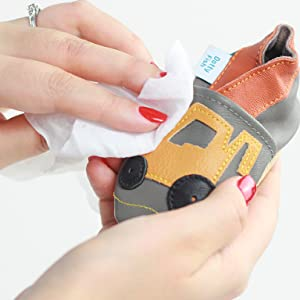 Caring for your Dotty Fish Crib Shoes, Grey leather baby shoes with panda motif and a suede brush