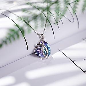 Blue-purple heart Necklace