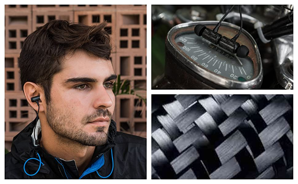 Black carbon fiber bluetooth earbuds audio collection
