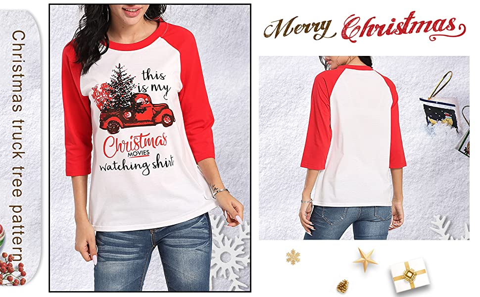 This is My Christmas Movie Watching Shirts Women Funny Red Truck Christmas Tree Cute 3/4 Sleeve Tee