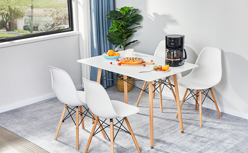 GreenForest Dining Table Wood Top and Legs Modern Leisure Coffee Table Home and Kitchen 44″x30″, White