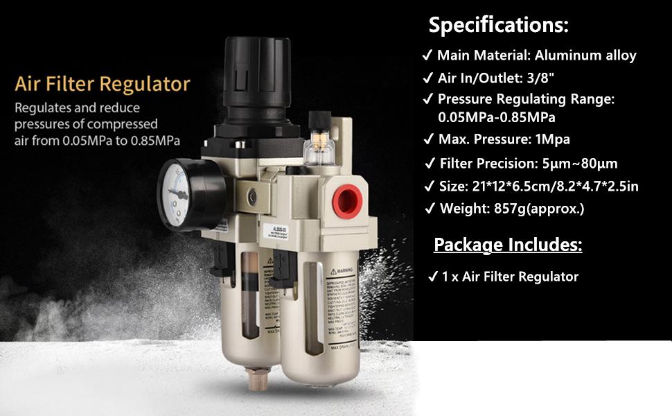 1pc AC3010-03 Aluminum Alloy Compressed Air Filter Pressure Regulator Combo Moisture Trap 3//8 with Gauge