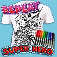 Superhero Tshirt, Superhero colouring, washable colouring markers, Superhero gift boys, Splat planet