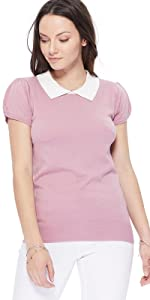 YEMAK Women's Classic Contrast Collar Short Sleeve Knit Pullover Sweater