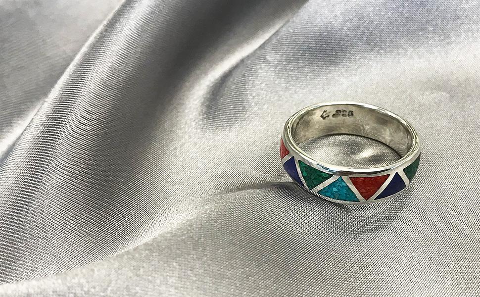 Southwestern Sterling Silver Multi Gemstone Unisex Ring