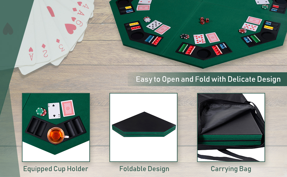 Genric Folding Poker Table Top Octagon Layout 48 Inch 8-Player Texas Poker Card Tabletop Layout Portable Anti-Slip Rubber Board Game Mat with Cup Holders and Carrying Bag