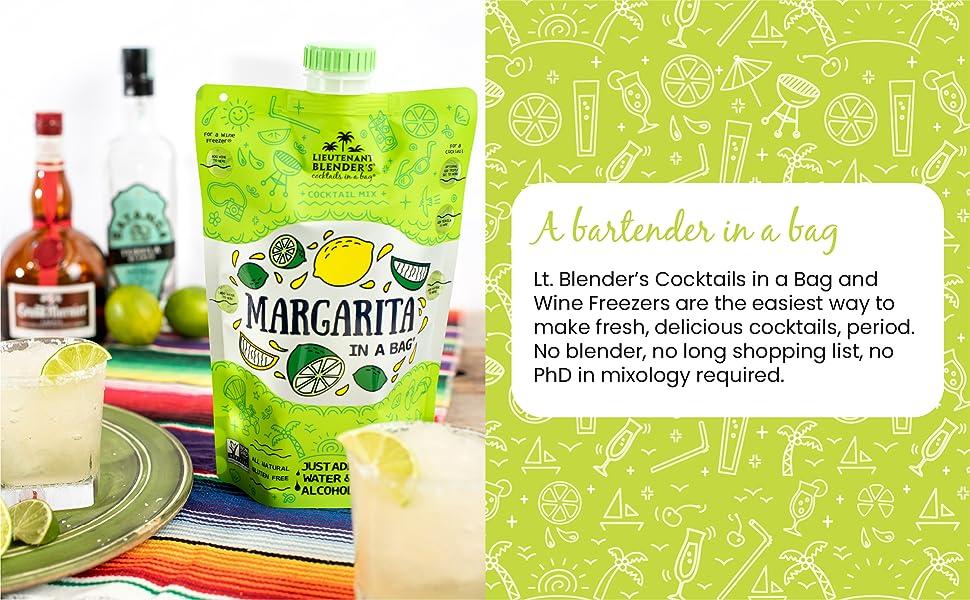 lt. blender, cocktails in a bag, cocktail mix, lieutenant blenders, frozen, drinks, party, cocktails