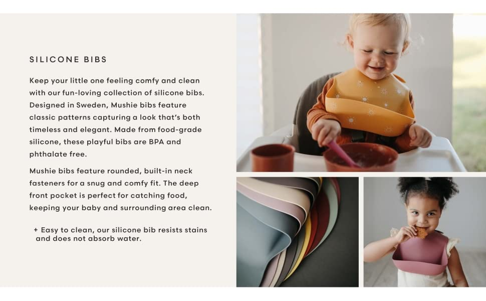 Warm Taupe Mushie Silicone Baby Bib Adjustable Fit Waterproof Bibs