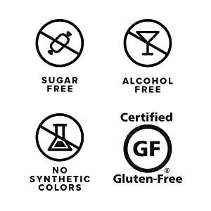 Sugar free, gluten free, no synthetic colors, and alcohol free graphics