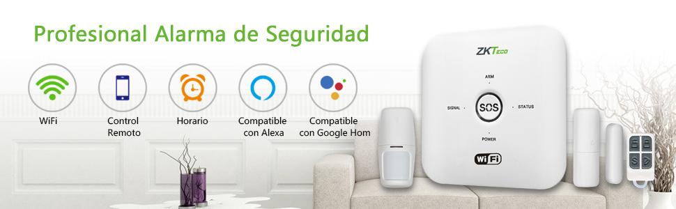 sistema de alarma seguridad inalámbrico wifi detección movimiento sensor puerta ventana alexa google