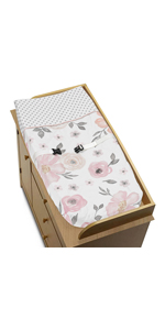 Blush Pink, Grey and White Changing Pad Cover for Watercolor Floral Collection