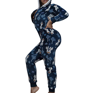 BOMOZQ Women Christmas Printed V-Neck Long Sleeve Nightwear Jumpsuit Bodysuit Playsuit Romper