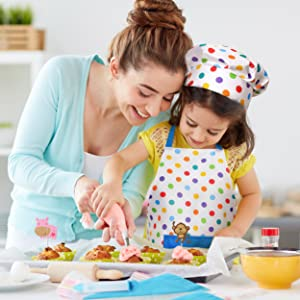 Real Cooking and Baking Supplies RiseBrite Cake Decorating Set for Kids 38 Pcs includes Kids Apron Chef Hat