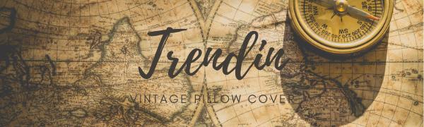 Trendin World Map Pillow Cover 18x18 inch