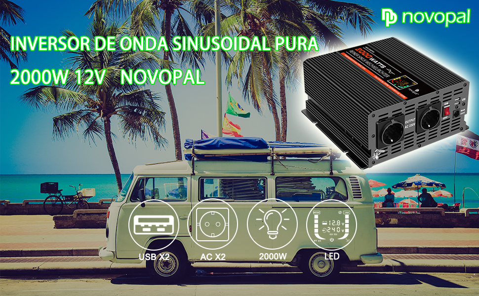 NOVOPAL Inversor De Corriente Onda Sinusoidal Pura 2000W ...
