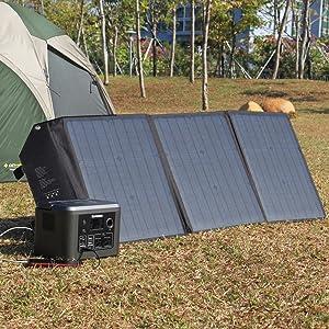 powkey 60W 18V Panel Solar Portátil con USB C, Doble USB QC3 ...