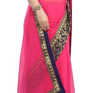 gajri colour chiffon saree