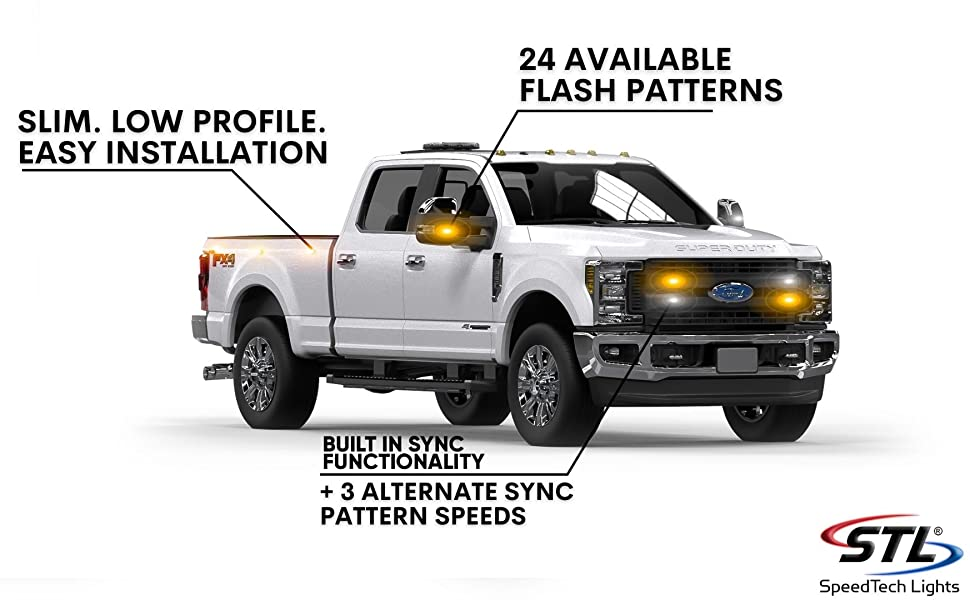 LED Strobe Light Police Cars Construction Trucks Service Vehicles Emergency Surface Mount Grille