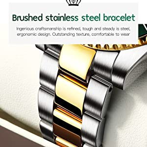 olevs solid steel strap dual gold tone