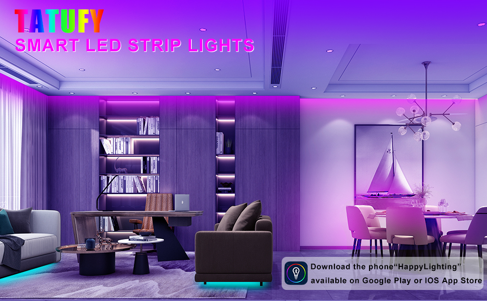 TATUFY LEDs RGB Strip Lights are designed with various control mode:by APP,by Remote Control