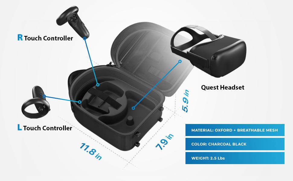 shell vr headset carry amazon basic protective fashion oculusquestcase charging