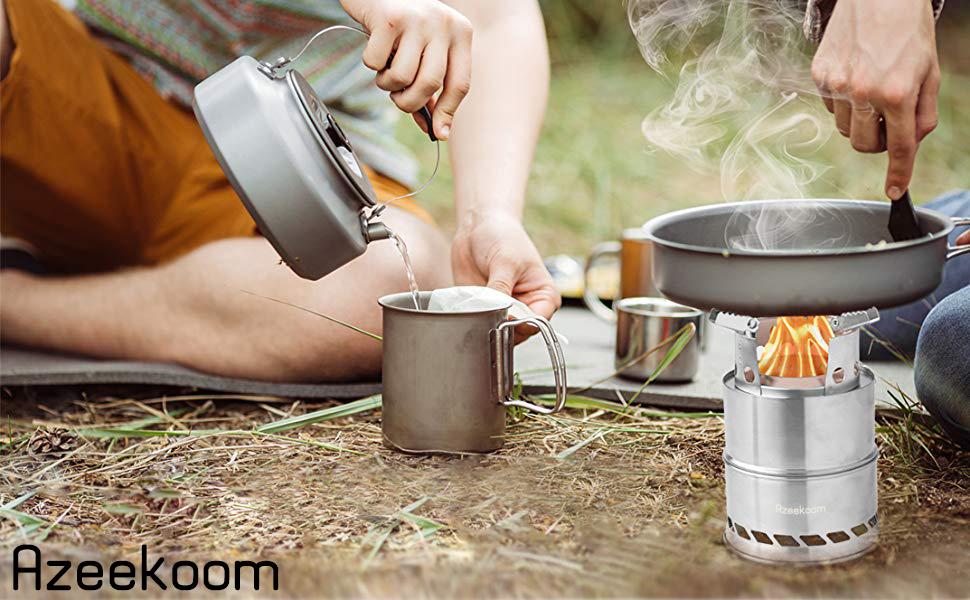 Azeekoom Estufa de Leña Camping, Hornillo Alcohol Portátil con Cuchillo Plegable Tenedor Cuchara Fuelle de Fuego para Excursionismo al Aire Libre ...
