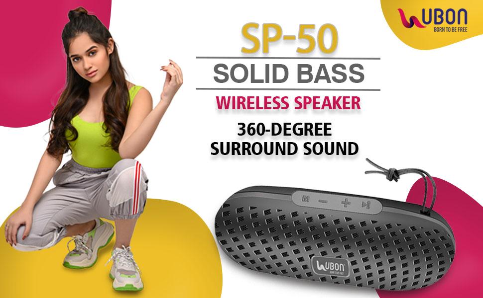 B08W4B4FLT - UBON SP-50 Solid Bass Wireless Speaker 6 Hours Playtime with USB/AUX/FM - SPN-FOR1