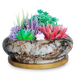 7.3 Inch Marble Succulent Pots