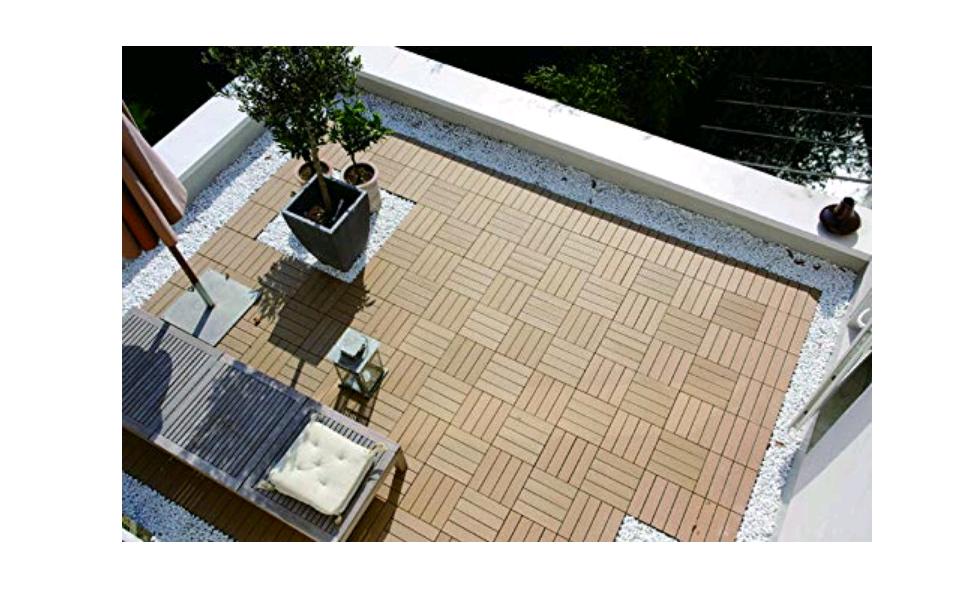 Terraza Gris Eugad 22x Suelo De Exterior Wpc 30x30cm