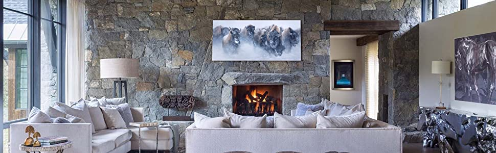 Le troupeau Thundering Herd Staging Salon contemporain Rustic Pierre Cheminée Cabine Moderne Décoration de la maison