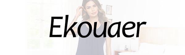 Ekouaer Nightgowns for Women Round Neck Sleepwear Short Sleeve Pajama Dress