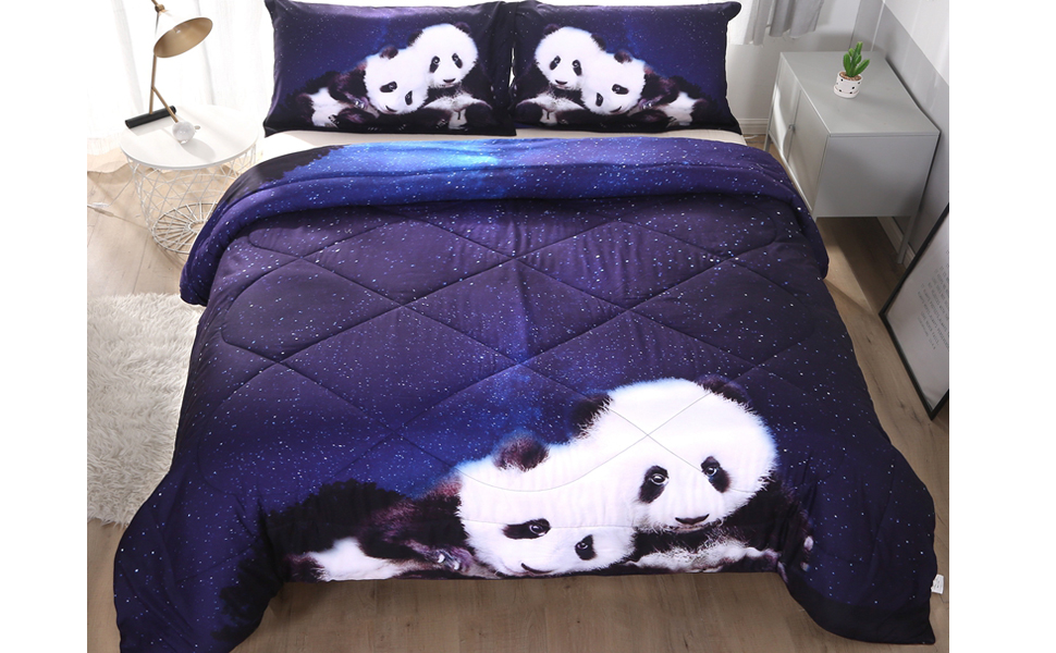 Jameswish Blue Panda Comforter Set Full Queen Size 3D Lovely Panda Animal Printed Reversible Bedding Sets Luxury Microfiber Double Bed Quilt Sets,3 Pieces