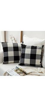 buffalo check plaid pillows black white classic