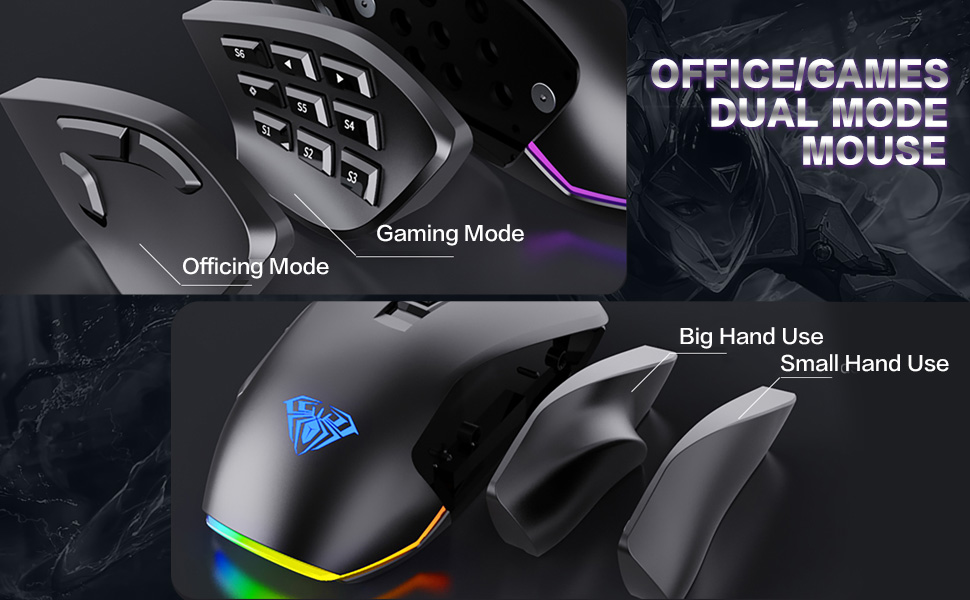 Ergonomic Optical PC Gaming Mice, Office/Games Dual-Mode Mouse for Desktop, Laptop