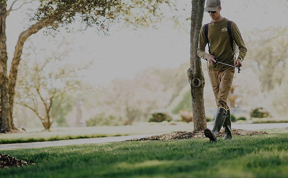 man walking on the lawn